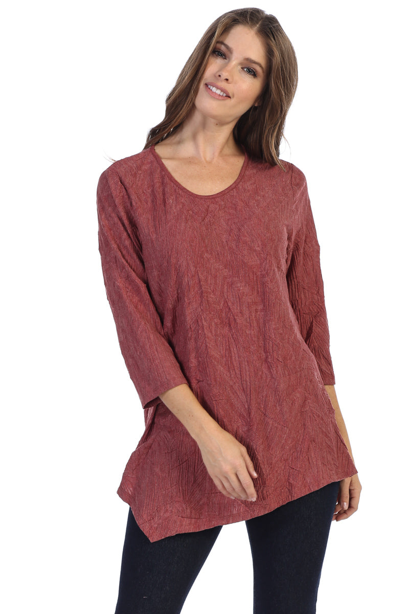 Asymmetric Textured Round Neck Tunic Top - Rose + Canvas®