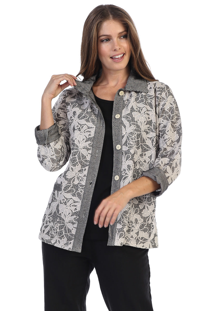 Classic Floral Print Long Sleeve Jacket - Rose + Canvas®