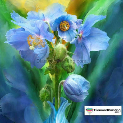 Blue Flower Diy Diamond Painting Kit 20X20Cm