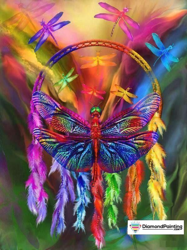 Butterfly Rainbow Dream Catcher Painting With Diamonds Kit