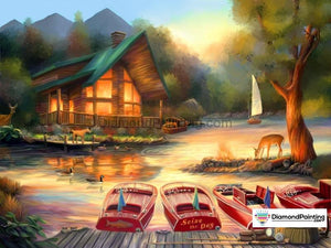 Cabin at the Lake Diamond Painting Kit Free Diamond Painting