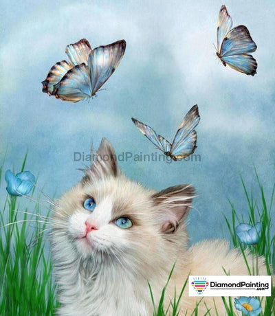 Cat Playing With Butterflies 5D Diy Diamond Painting Kit 20X25Cm