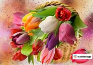 Colors of Fun Diamond Painting Lovers Kits for Adults Free Diamond Painting Basket of Flowers 15x20cm