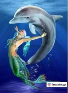 Colors of Fun Diamond Painting Lovers Kits for Adults Free Diamond Painting Dolphin and Mermaid 20x25cm