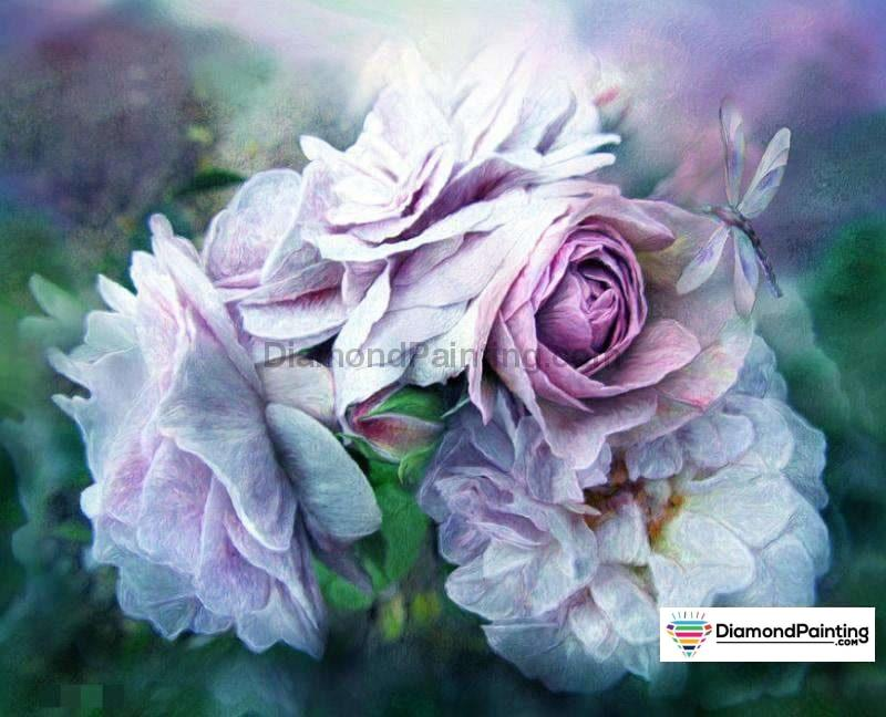 Dragonfly & Purple Rose 5D Diy Diamond Painting Kit