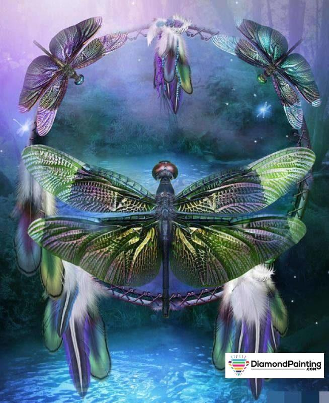 Dream Catcher Dragonfly 5D Diy Diamond Painting Kit 20X25Cm