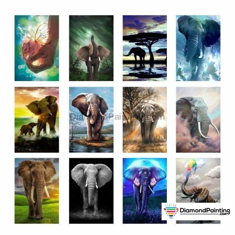 Elephant Lovers Painting With Diamonds Kit
