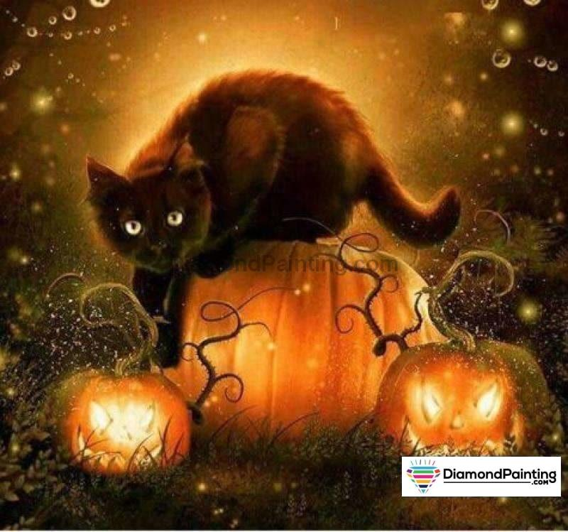 Halloween Diamond Art Kits For Adults Free Diamond Painting Boo Kitty Square 20x20cm