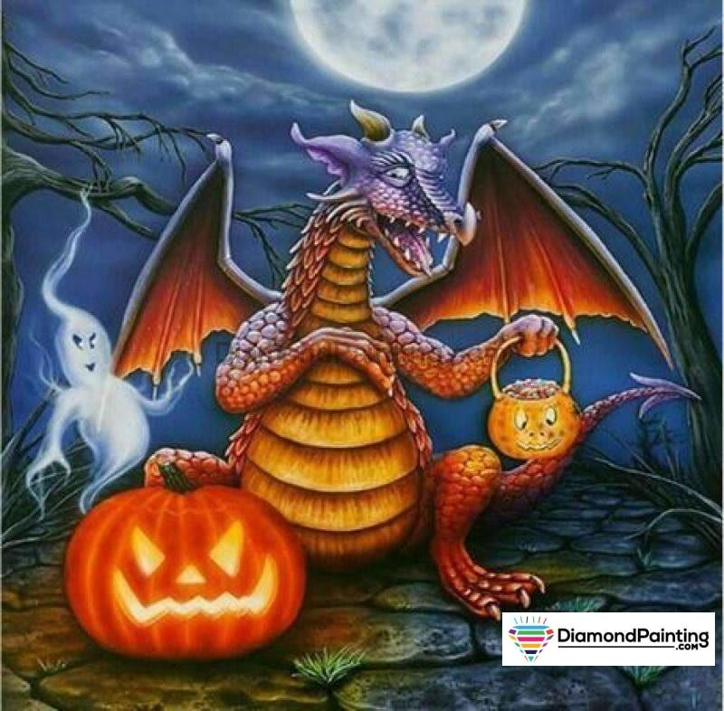 Halloween Diamond Art Kits For Adults Free Diamond Painting Happy Dragon Halloween Square 20x20cm