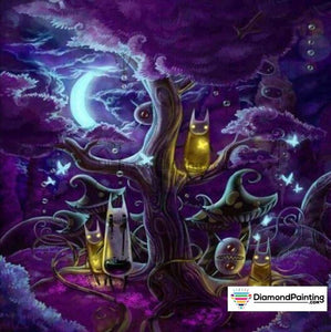 Halloween Diamond Art Kits For Adults Free Diamond Painting Purple Night Square 20x20cm