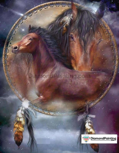 Horse Dream Catcher Painting With Diamonds Kit