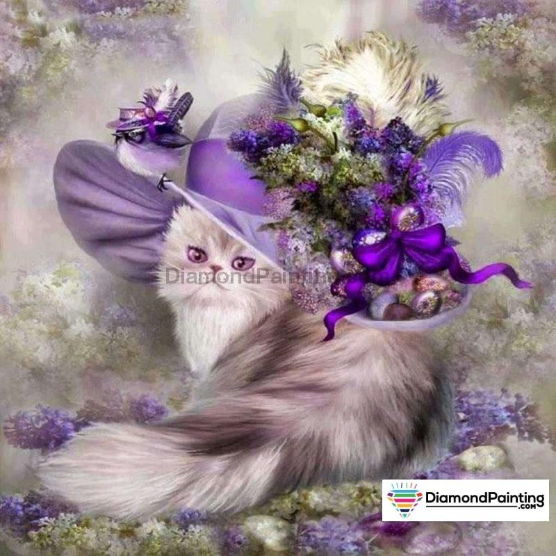 Pretty Purple Cat With Flowers