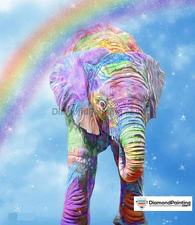 Rainbow With Colorful Elephant 5D Diy Diamond Painting 20X25Cm