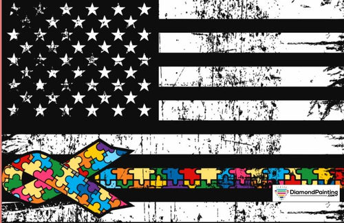 Ships From USA - Autism Awareness USA Flag 25x20cm Free Diamond Painting