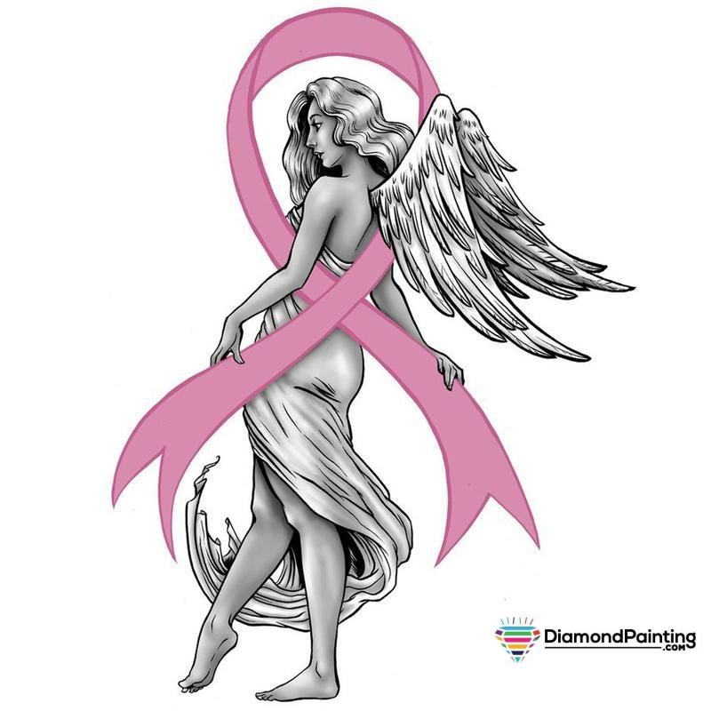 Ships From USA - Breast Cancer Awareness Angel 20x20cm Free Diamond Painting