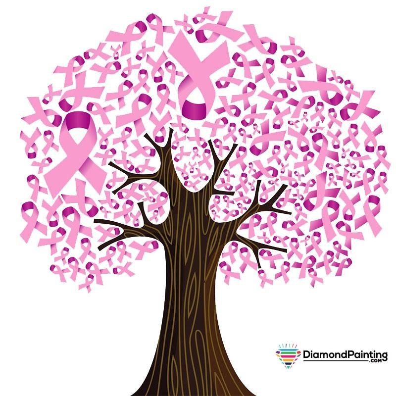 Ships From USA - Breast Cancer Awareness Tree 20x20cm Free Diamond Painting