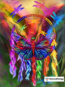 Ships From USA - Dragonfly Rainbow Dream Catcher 40x60cm Free Diamond Painting