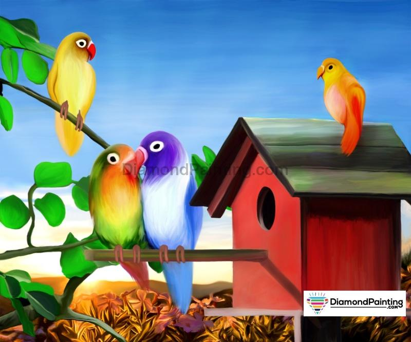Ships From USA - Happy Birdhouse 50x40cm Free Diamond Painting