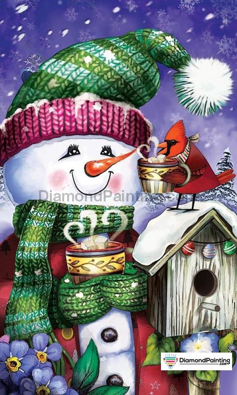 Ships From USA - Happy Snowman 60x40cm Free Diamond Painting