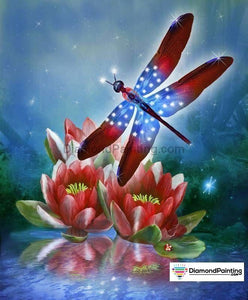 Ships From USA - Red, White and Blue Dragonfly 60x40cm Free Diamond Painting