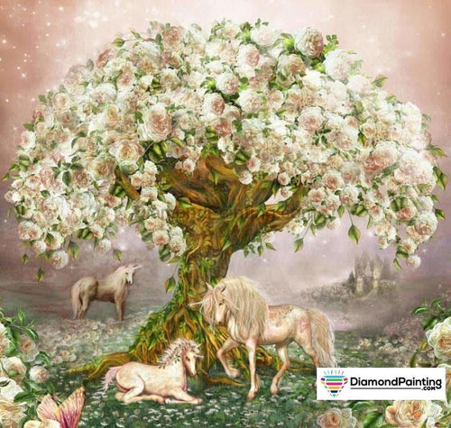 Ships From USA - The Fancy Unicorn Tree 30x30cm Free Diamond Painting