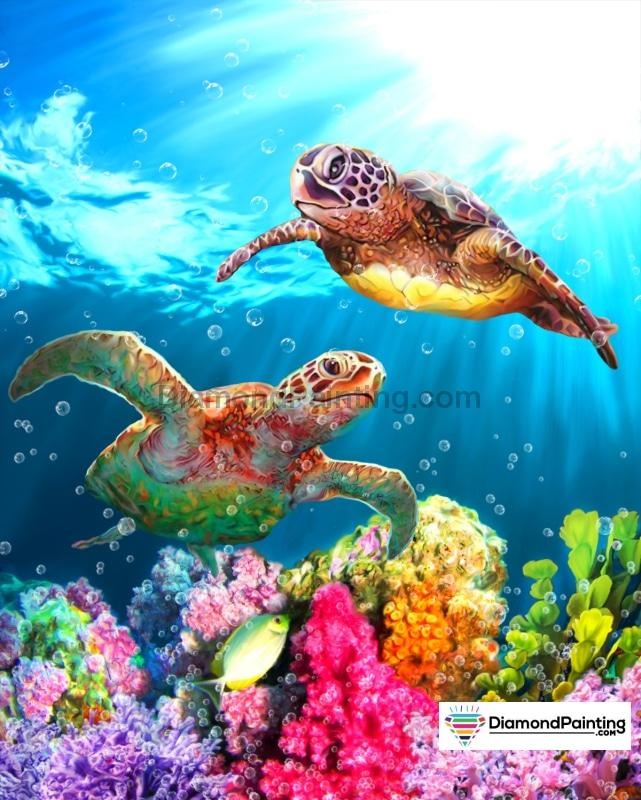 Ships From USA - Turtle Fun 40x60cm Free Diamond Painting