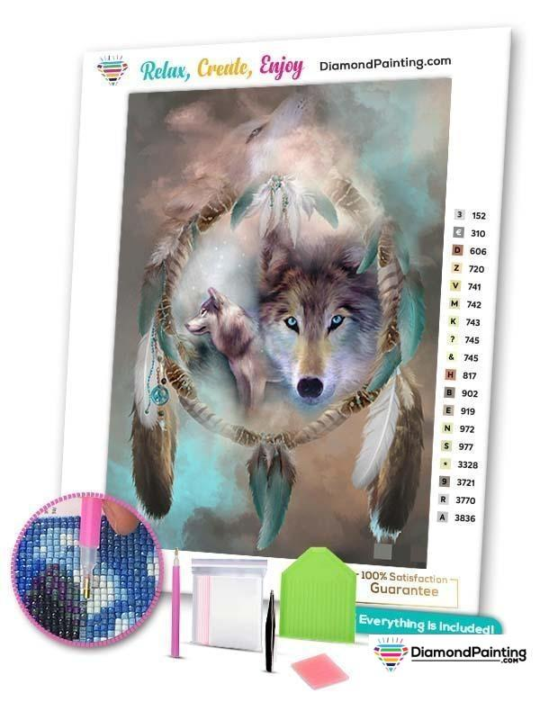 Ships From USA - Wolf Dream Catcher 25x20cm Free Diamond Painting