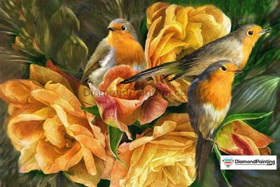 Three Birds In Flower 5D Diy Diamond Painting