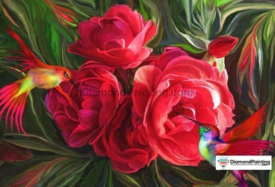 Two Birds In Roses 5D Diy Diamond Painting