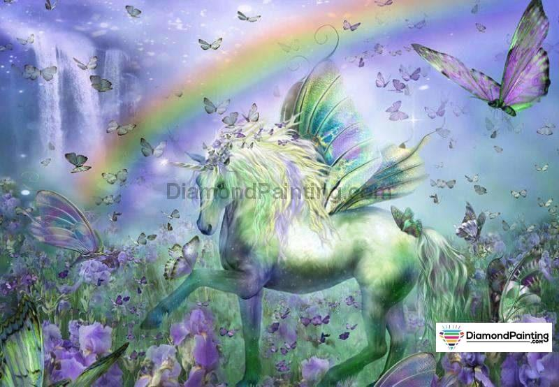 Unicorn Rainbow With Butterfly