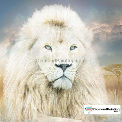 White Fearless Lion Diy Diamond Painting 30X30Cm