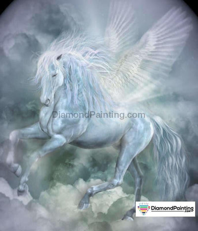 White Unicorn Diy Diamond Painting 20X25Cm