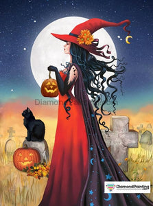 Witch Moon Halloween Diamond Painting Kit Free Diamond Painting