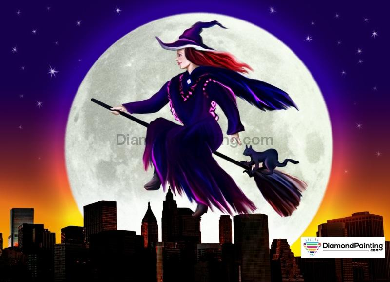 Witch Rides Across The Moon Halloween Diamond Painting Kit Free Diamond Painting