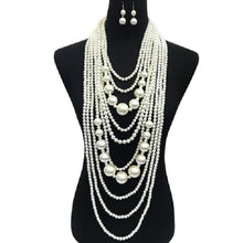 Load image into Gallery viewer, PEARL NECKLACE SET 10 STRAND
