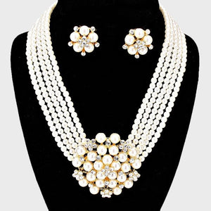 PEARL BROOCH NECKLACE set