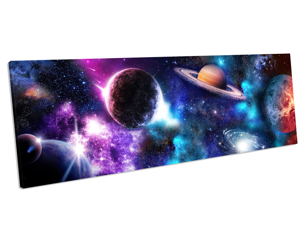 Earth And Space Shuttle NASA 4 Panel Box Framed Canvas Art picture Print