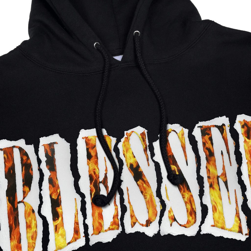 SHREDDED FLAMES HOODIE - Blessed Apparel