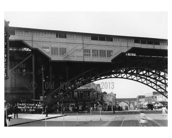 125th Street IRT Subway Viaduct looking down Manhattan Avenue 1915 Old Vintage Photos and Images
