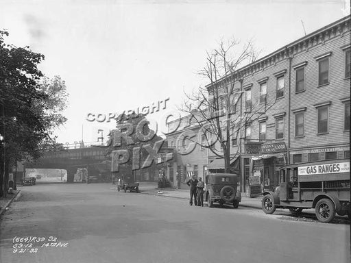 14th Avenue looking to New Utrecht Avenue (West End el) from 59th Street, 1932 Old Vintage Photos and Images