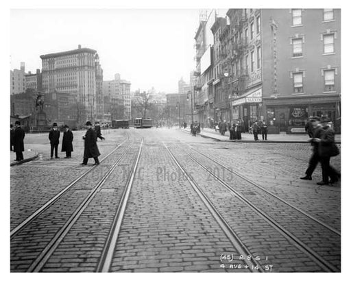 14th Street & 4th Avenue - Greenwich Village - Manhattan, NY 1916 H Old Vintage Photos and Images