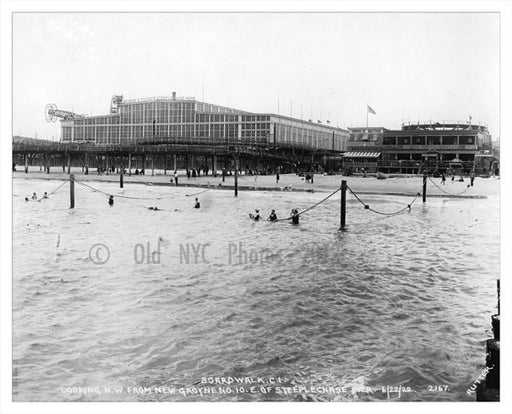 1922 - view from the pier looking at the beacj with Steeplechase Park in the background Old Vintage Photos and Images