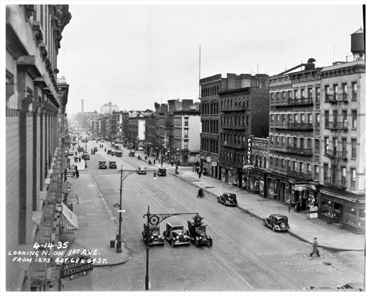 1st Avenue between 68th & 69th Streets 1935 Old Vintage Photos and Images