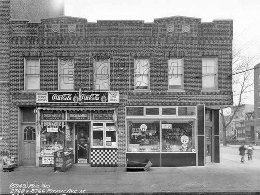 2768 and 2766 Pitkin Avenue at southeast corner Crescent Street, 1940 Old Vintage Photos and Images