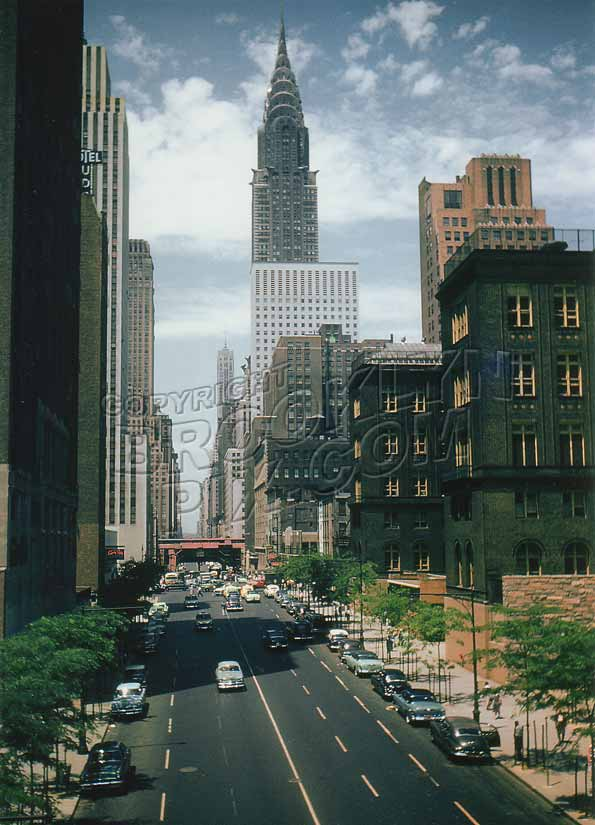 42nd Street, looking west, to Chrysler Building, 1955 Midtown Manhattan Old Vintage Photos and Images