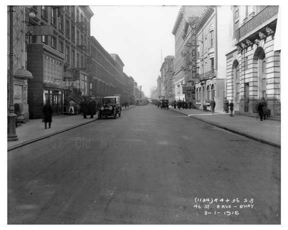 46th Street between 8th Ave & Broadway - Midtown Manhattan - 1915 E Old Vintage Photos and Images