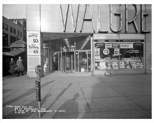 50th Street & Broadway by Subway & Walgreens 1957 - Midtown Manhattan Old Vintage Photos and Images