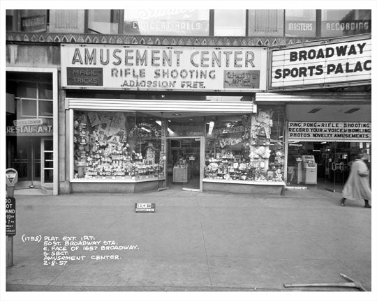 50th Street & Broadway in front of Amusement Center Rifle Shooting 1957  - Midtown Manhattan - New York, NY Old Vintage Photos and Images