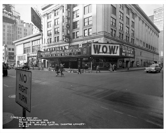 50th Street & Broadway in front of Capitol Theatre 1957  - Midtown Manhattan - New York, NY Old Vintage Photos and Images