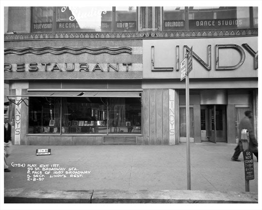 50th Street & Broadway in front of Lindy's Restaurant 1957 - Midtown Manhattan - New York, NY Old Vintage Photos and Images